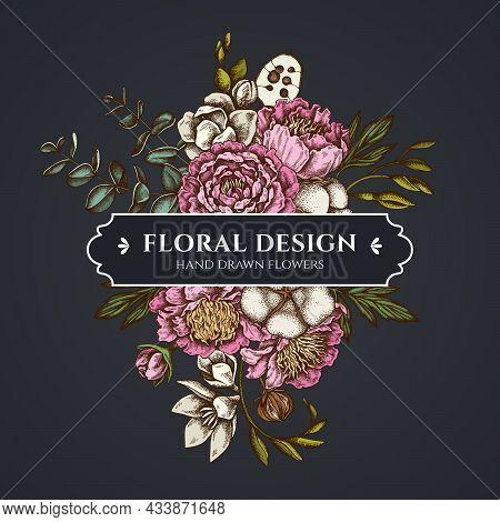Floral Bouquet Dark Design With Ficus, Eucalyptus, Peony, Cotton, Freesia, Brunia Stock Illustration