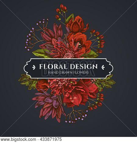 Floral Bouquet Dark Design With Viburnum, Hypericum, Tulip, Aster, Leucadendron, Amaryllis Stock Ill