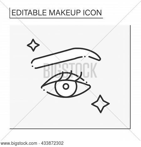 Makeup Design Line Icon. Trendy Makeup With Attractive Eyebrow, Long Eyelashes. Glowing Up. Makeup C
