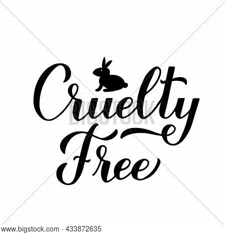 Cruelty Free Calligraphy Hand Lettering. Not Tested On Animals Sign. Vector Template For Logo Design