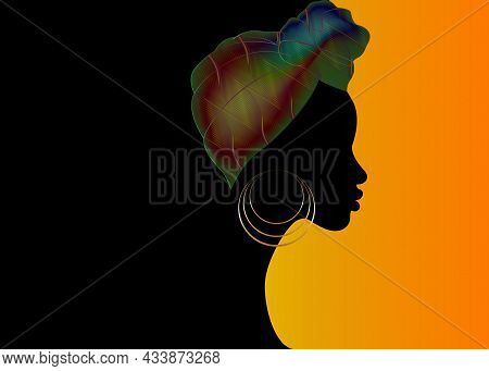 Portrait Beautiful Afro Woman. Shenbolen Ankara Headwrap Women African Traditional Headtie Scarf Tur