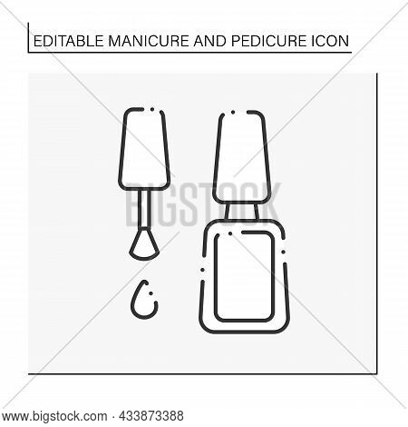 Vanishes For Manicure Line Icon. Cosmetic Lacquer. Shiny Nail Enamel. Manicure And Pedicure Concept.