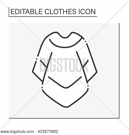 Fashion Line Icon. Mucho Poncho For Cold Weather. Outerwear. Fashionable Warm Cloth.shopping.clothes