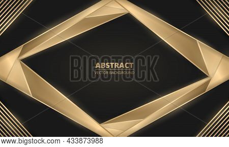 Abstract Luxury Black And Gold Lines And Shapes Background. Rich Background With Geometric Elements.