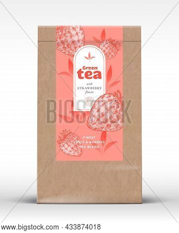 Craft Paper Bag With Fruit And Berries Tea Label. Realistic Vector Pouch Packaging Design Layout. Mo