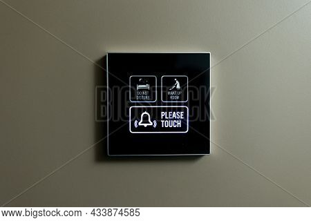External Indicator Of A Hotel Room Do Not Disturb, Make Up Room Indicator Shows Green Light At Make
