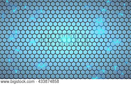 Light Blue Hexagonal Technology Abstract Vector Background With Blue Neon Colored Bright Flashes Und