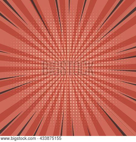 Starburst Comic Background With Halftone Grid, Vector Illustration