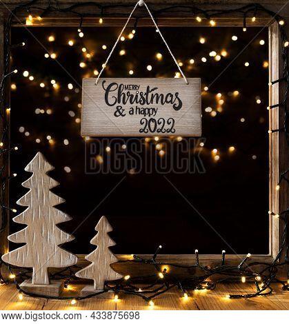 Christmas Tree, Window, Night, Merry Christmas And A Happy 2022