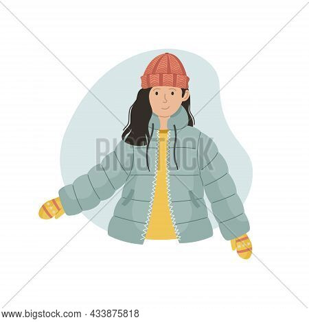 Vector Illustration Of A Girl In A Winter Sintepon Jacket And A Knitted Hat. Winter Clothin