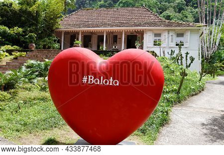 Fort De France, Martinique -august 09, 2021 : The Giant Heart Sign Of Entry To Balata Garden. It Is
