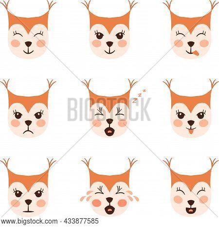 Squirrel Emoji Heads Set Dd Ww Isol