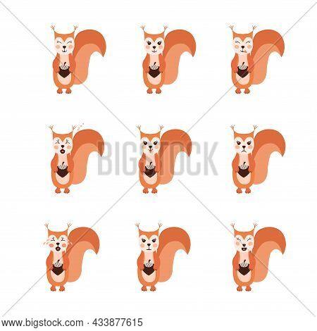 Squirrel Emoji Set Dd Ww Isol Animal