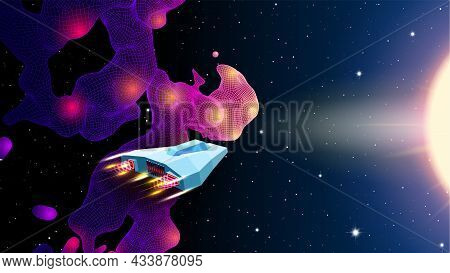 Arcade Space Ship Flying Near The Blue Nebula Or Space Cloud In Space Landscape. 80s Style Sci-fi Sy