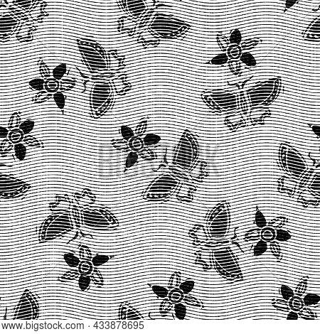 Seamless Butterfly Black White Woven Herringbone Style Texture. Two Tone 50s Monochrome Pattern. Mod