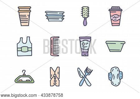 Plastic Household Goods Color Vector Doodle Simple Icon Set