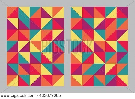 Abstract Geometric Pattern Background. Bauhaus Art Style Colorful. Triangle And Square Shape. Design