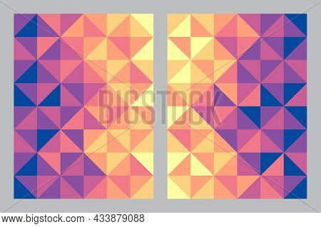 Abstract Geometric Pattern Background. Bauhaus Art Style Gradient Color. Triangle And Square Shape.
