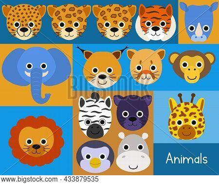 Large Set Of Cute Animal Faces Such As Cheetah, Leopard, Jaguar, Lynx, Tiger, Lion, Elephant, Hippop