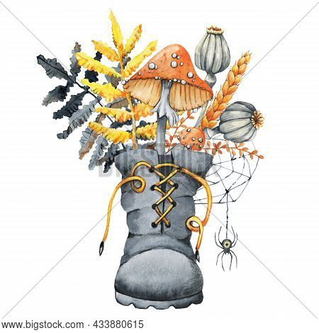 Autumn Bouquet In A Boot For Halloween. Composition With Amanita Mushroom, Toadstool, Poppy, Spikele