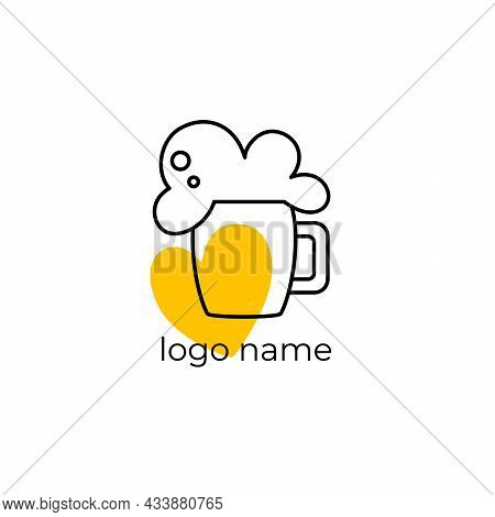 Beer Logo. Logo For A Beer Shop, Restaurant, Bar. A Glass Of Beer On A White Background With The Ins