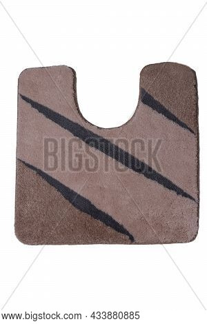 Close Up Of Non Slip Brown Fluffy Soft Bath Mat Or Rug Isolated On White Background. Bath Accessorie