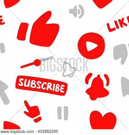 Seamless Pattern.subscription, Call Button And Hand Cursor. Red Button Subscribe To A Channel, Blog,