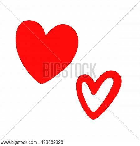 Heart Icon, Like Icon, Applicable For Social Networks. A Red Heart And A White Heart With A Red Gadf