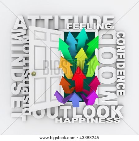 The word Attitude over an open door with arrows going up symbolizing an improving mood, mindset, attitude, confidence, disposition or feeling