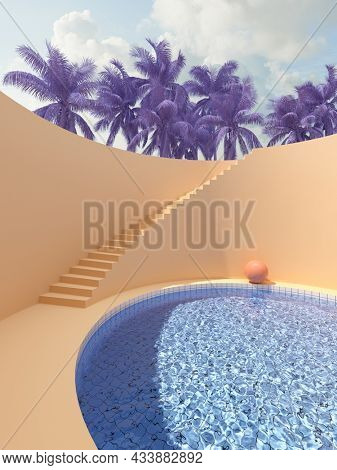 Surreal art design with stairs and pool in bright colors, palms and harmony, 3D illustration, rendering.