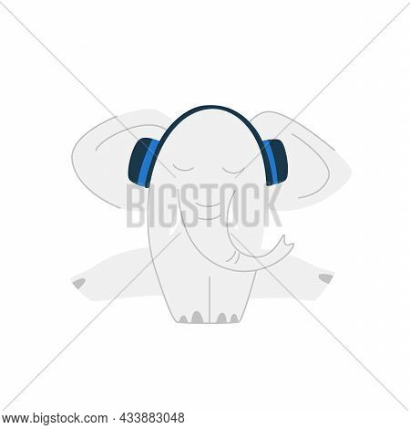 Funny Cartoon Cute Gray Elephant. Cute Elephant Listens To Music In Headphones While Sitting On A Tw