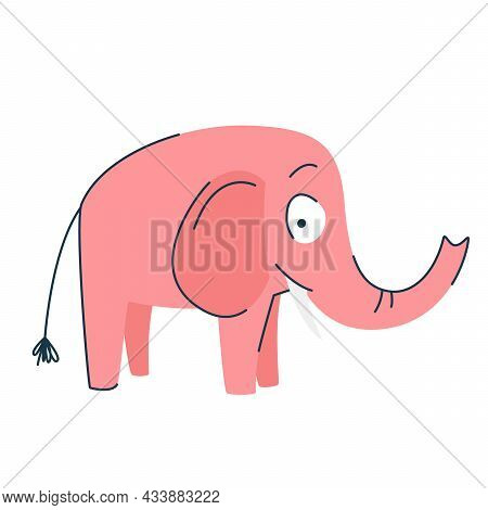 Funny Cartoon Cute Pink Elephant. Cute Baby Elephant. Side View. A Funny Animal. Isolated Over White