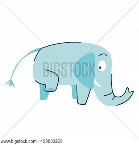 Funny Cartoon Cute Blue Elephant. The Cute Elephant Raised His Leg. Side View. A Funny Animal. Isola