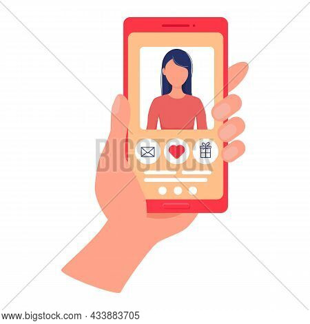 Hand Holds Phone With Dating Site. Beautiful Girl On Smartphone Screen. Mobile Dating App. Site For