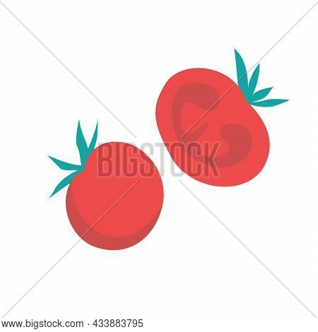 Red Juicy Tomatoes, Whole Vegetable And Cut In Half. Fresh Vegetables On A White Background.