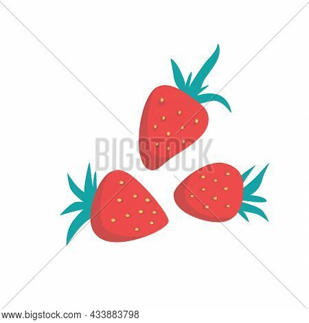 Ripe Red Strawberries, Whole Berries. Fresh Fruits On A White Background.