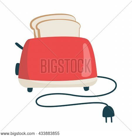 Cute Realistic Toaster And Toast. Breakfast Concept. Red Toaster With Bread On An Isolated Backgroun