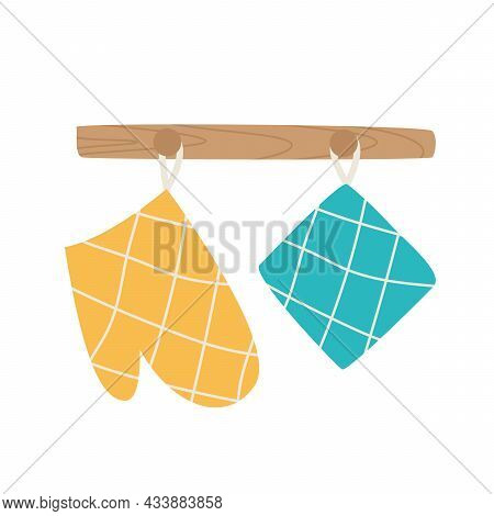 A Glove And Oven Mitt Hang On The Counter Icon. Kitchen Utensils Concept. Sign Of Heat Protective Ho