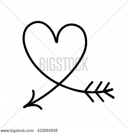Vector Illustration In Doodle Style Isolated On White Background. Silhouette Of Heart With Arrow. Va