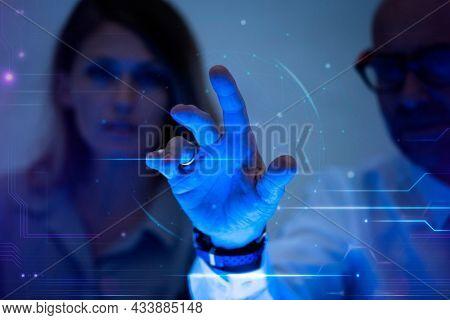 Man touching a virtual screen futuristic technology digital remix