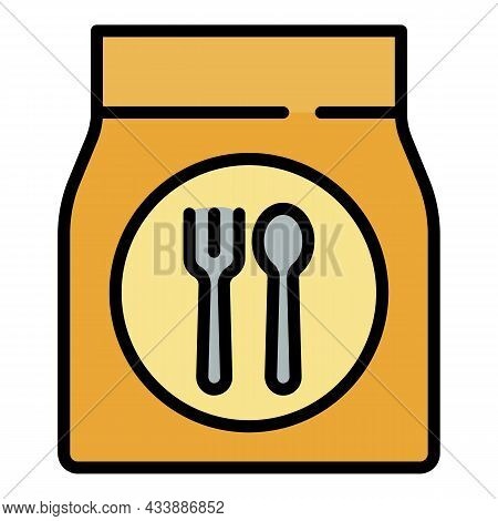 Fast Food Package Icon. Outline Fast Food Package Vector Icon Color Flat Isolated