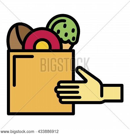 Fast Food And Hand Icon. Outline Fast Food And Hand Vector Icon Color Flat Isolated