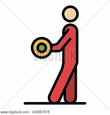 Athlete With Dumbbell Icon. Outline Athlete With Dumbbell Vector Icon Color Flat Isolated