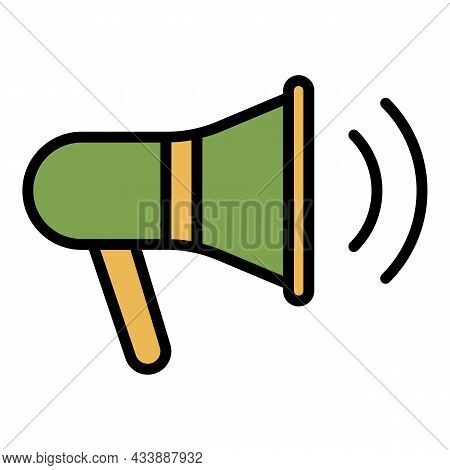 Coaching Megaphone Icon. Outline Coaching Megaphone Vector Icon Color Flat Isolated