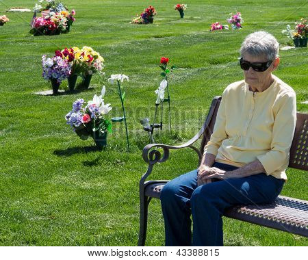 An elderly woman sitting alone on a cemetery bench grieving. poster