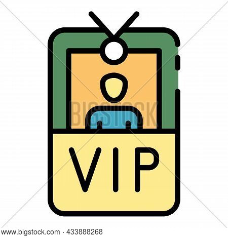 Vip Badge With Photo Icon. Outline Vip Badge With Photo Vector Icon Color Flat Isolated