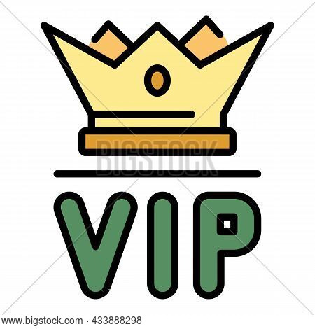 Vip Crown Icon. Outline Vip Crown Vector Icon Color Flat Isolated