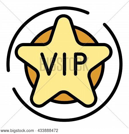 Vip Star Icon. Outline Vip Star Vector Icon Color Flat Isolated