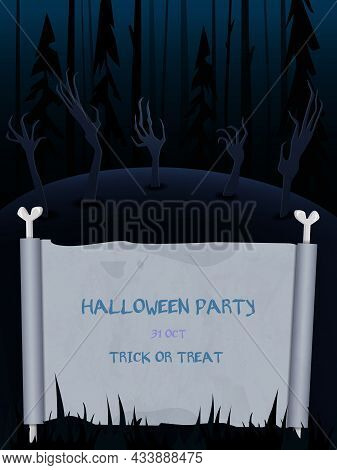 Halloween Vector Background With Dark Forest, Creepy Hands And Empty Sheet Of Paper