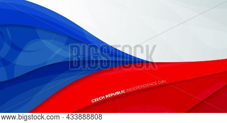 Red, White And Blue Abstract Background Design. Czech Republic Independence Day Background Template.